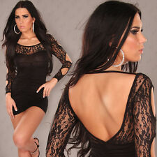 NEW SEXY Backless Longsleeve Minidress with Lace Open Shoulder Black Size 6 8 10