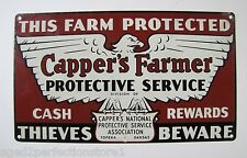 Orig 1950s Capper's Farmer Sign This Farm Protected-Cash Rewards-Thieves Beware