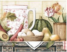 WATERMELONS, AVOCADO, AND TABLE CLOTH ON BLUE KITCHEN COUNTER Wallpaper bordeR