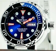 *DEEP BLUE SUN DIVER 3K1000.BLUE SUNRAY DIAL HELIUM-SEFE. FREE GIFT PURCHASE.
