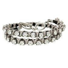 """Cowhide Leather Toggle Clasp Bracelet Gray Clear Rhinestone 44cm(17 3/8"""")"""