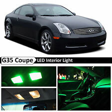 9x Green LED Lights Interior Package 2003-2007 G35 Coupe