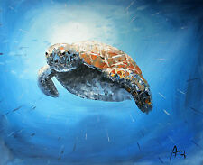 100%HAND-PAINTED ART ACRYLIC OIL PAINTING ABSTRACT Animal sea turtle 40x50cm