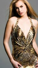 Faviana  Couture Leopard Cheetah Animal Print Sequin Gold Dress Prom 6
