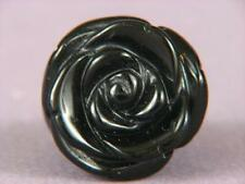 "Ring Black Onyx 1"" Carved Rose SZ 5.5 5081"