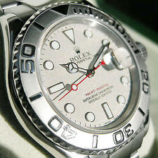 PREOWNED ROLEX MENS STAINLESS STEEL PLATINUM YACHTMASTER MODEL #16622 OYSTER