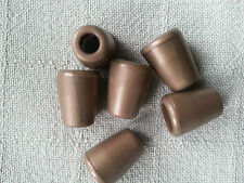6x Gold/Brown Plastic Bell Shape Cord Ends Stoppers