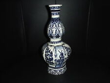 Delft Tall Vase with Alternating Flowers and Windmills