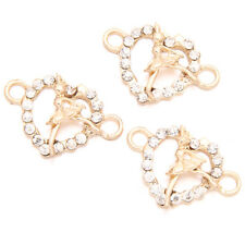 60pcs Golden Charms Findings Alloy Hollow Heart Girl Connector Pendant 2 Holes D