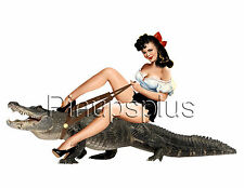 Sexy Swamp hillbilly on Alligator / Crocodile Pinup Girl Decals Waterslide S953