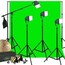 LED 200 Watt Photo Video Light Kit Softboxes Boom Green Chromakey Support System