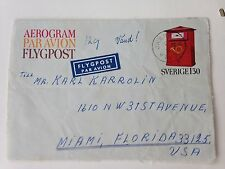 Sweden 1 x Aerogramme with additional postage Facit 8 cat 125KR to USA