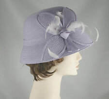 August Accessories Fine Millinery Cloche Hat with Feathers Lavender Purple New