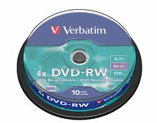 1x10 VERBATIM DVD-RW Rewritable 1x4x 4.7GB Spindel (43552) NEU(EU Shop) 001-942