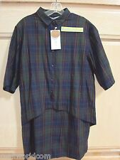 NEW Zara Checked 100% Organic Cotton Shirt Dress SZ S Navy Blue BLOGGERS FAV