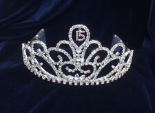 """Crystal Rhinestones Sweet 15 Quinceanera w/Combs.Tiara.3""""Tall. Pick Your Color !"""