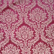Scroll leaf Fabric Upholstery Jacquard Brocade Damask Cranberry wine Red Gold
