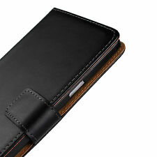 For Samsung Galaxy Note 4 Black Genuine Leather Cash Card Wallet Case Cover