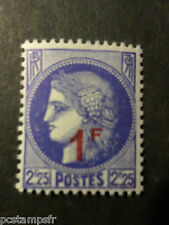 FRANCE, 1940-1941, timbre 487, CERES, SURCHARGE', neuf** LUXE, VF MNH STAMP