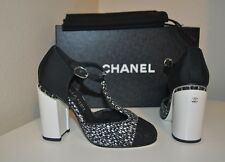CHANEL 16B Tweed T Strap Mary Jane Pumps Chain Heels Shoes Black Grey Silver 36