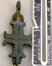Antique Holy land Crusaders Byzantine Empire Bronze Reliquary Cross Crucifix