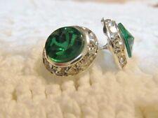 13mm Emerald Green Rivoli Clear Rhinestone Dance Pageant Button Post Earrings