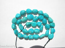 "Genuine Sleeping Beauty Turquoise small Nugget  Beads-  6-7x4-5mm - 8.25"" Strand"