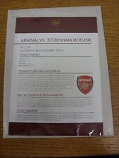 04/01/2014 Arsenal v Tottenham Hotspur [FA Cup] Club Level Menu & Todays Timings