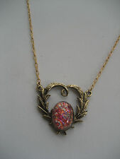 VINTAGE  CZECH GLASS OPAL SET IN  HEART PENDANT NECKLACE