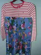 Joules Hayley Dress Girl 11 12 152 CM Pink Blue Floral Stripes Cotton Knit New