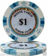 10 pc 10 colors 14 gm Monte Carlo Poker Club 1-10000 poker chip samples set #195