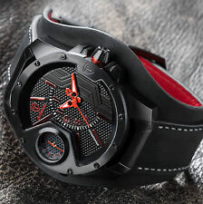 DETOMASO STEPPENWOLF DT-YG104-A MensWatch XXL Black/Red Stainl.steel Leather New