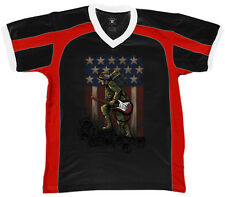 Soldier Holding Guitar And Amp Rock Music USA Pride Flag Retro Sport T-shirt