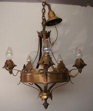 Antique Renaissance Spanish Revival Hammered Copper 4 Light Chandelier Fixture