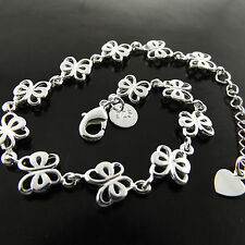 A700 GENUINE REAL 925 STERLING SILVER S/F GIRLS BUTTERFLY CHARM BRACELET BANGLE