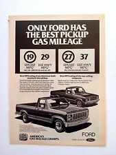 Vintage 1980's Ford Pick ups Original Print Ad Automobile Car Gas Mileage Champs