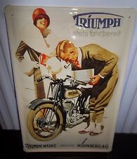 TRIUMPH MOTORCYCLES TWN GERMAN,  EMBOSSED(3D) METAL ADVERTISING SIGN 30X20cm