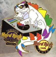 Hard Rock Cafe & Hotel TAMPA 2015 GAY PRIDE PIN Rainbow sTECHNOsaurus DINO DJ!