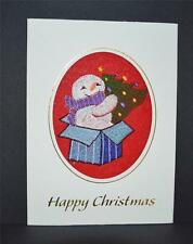 A new embroidered Christmas  Card --  Snowman with xmas tree in present box