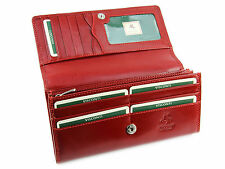 Visconti Womens Large Leather Purse / Wallet For Credit Cards, Banknotes - Red