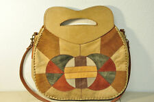 Vintage Leather Patchwork Shoulder Bag Tote