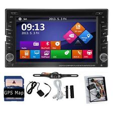 GPS Navigation Double 2 DIN Car In Deck DVD Player Radio GPS BT Bluetooth+Camera