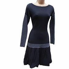 Karen Millen Black Grey Knit Boho Flare Hem Casual Day Jumper Dress KM-2,10 UK