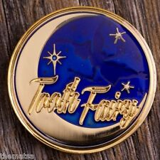 """TOOTH FAIRY BLUE GOLD  ENGRAVABLE 1.75"""" CHALLENGE COIN"""
