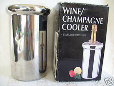 "Stainless Steel Wine/Champagne Chiller/Cooler 18/10  Round x 8 3/4"" Tall"