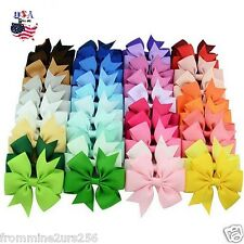 Lot of 40 PCS Boutique Grosgrain Ribbon Hair Bows w/Clips Baby Toddler Girls Kid