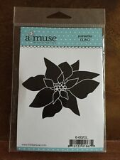 A Muse Artstamps AMuse Cling Stamps Holiday Christmas Poinesettia Rubber Stamp