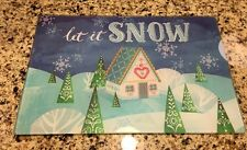 Christmas cutting board Let It Snow Blue Silver Gingerbread Peppermint Kitchen