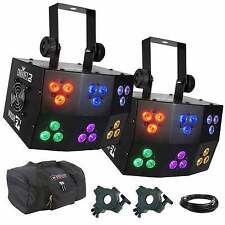 Chauvet DJ Wash FX RGB LED Pixel Mapping Club Wash Light Pair + Clamps + Cases