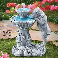 Labrador Puppy Dog Drinking From Flowing Fountain Outdoor Garden Statue